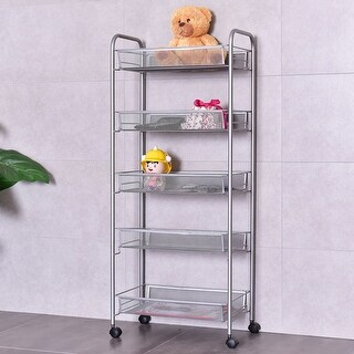 Costway 5 Tier Storage Rack Trolley Cart Home Kitchen Organizer Utility Baskets Sliver