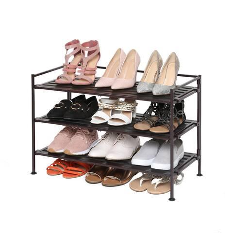 Seville Classics 3 Tier Resin Slat Stackable Shoe Rack
