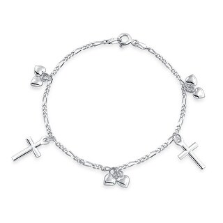 Dangle Hearts Religious Cross Kids Charm Bracelet 925 Silver 6in