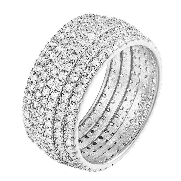 6-Row Prong Set Eternity Wedding Cocktail Sterling Silver Ring Womens Engagement