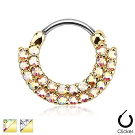 Lined Paved Gems Gold IP 316L Surgical Steel Round Septum Clicker (Sold Indiv.)