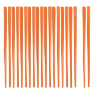 Unique Bargains Unique Bargains Home Kitchen Tableware Orange Plastic Tapered Chopsticks 10 Pairs