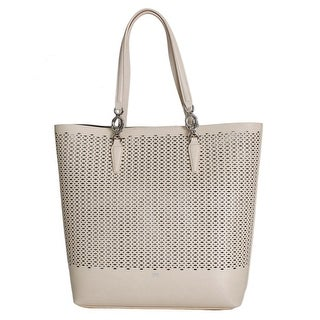 Cavalli Pink Beige Leather Tote Shopping Bag - One size