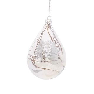 "5"" Winter Light Snowy Woodland Scene Tear Drop Glass Christmas Ornament"