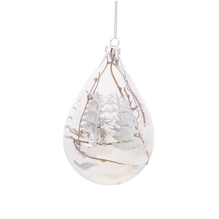 "5"" Winter Light Snowy Woodland Scene Tear Drop Glass Christmas Ornament"