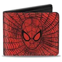 Ultimate Spider Man Spider Man Face Web Sketch Red Black Bi Fold Wallet - One Size Fits most