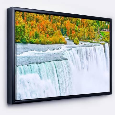 Designart 'Autumn Niagara Falls Panorama' Landscape Framed Canvas Art Print