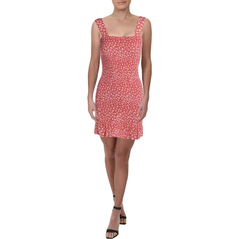 Aqua Womens Mini Dress Printed Smocked - Coral/White