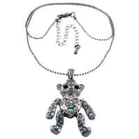 Rhinestone Encrusted Teddy Bear Pendant / Necklace AB