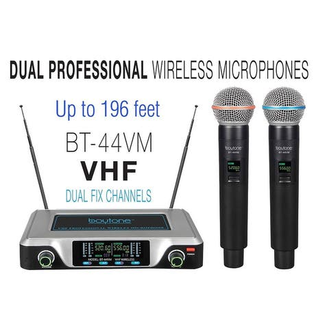 Boytone BT-44VM Dual Digital Channel Wireless Microphone System - VHF Fixed Frequency Wireless Mic Receiver, 2 Handheld