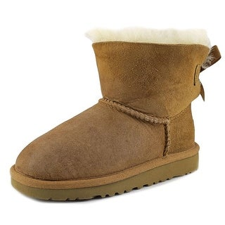 Ugg Australia Mini Bailey Youth Round Toe Suede Tan Boot