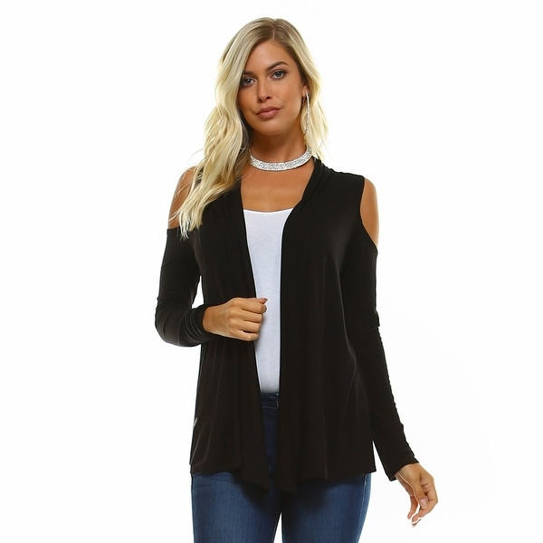 Isaac Liev Lightweight Cold Shoulder Cardigan