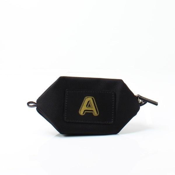 """Boulevard Jet Black Monogram """"A"""" Nylon Bubble Pouch Mini Wallet"""