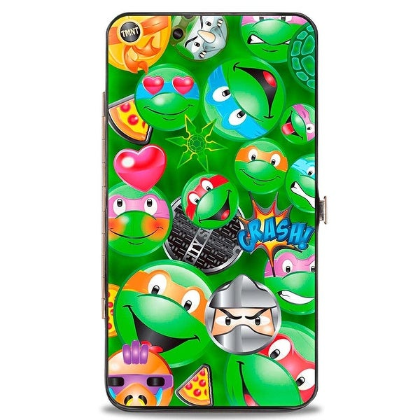 Classic Tmnt Turtle & Villain Expressions Pizza Turtle Shell Buttons Hinge Wallet - One Size Fits most