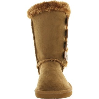 Forever Link Girls Aling-33K Faux Suede Buckle Comfort Mid Calf With Lined Faux Fur