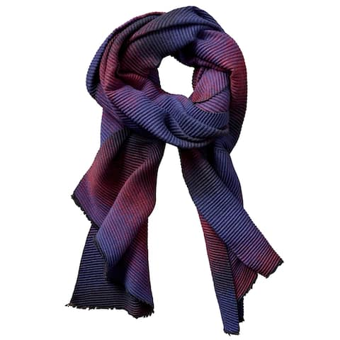 5.5' Navy Blue and Red Stylish and Fashionable Tickled Pink Ombre Ridged Scarf