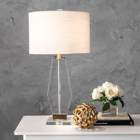 "nuLOOM 29"" Newton Prismal Crystal Linen Shade Table Lamp"