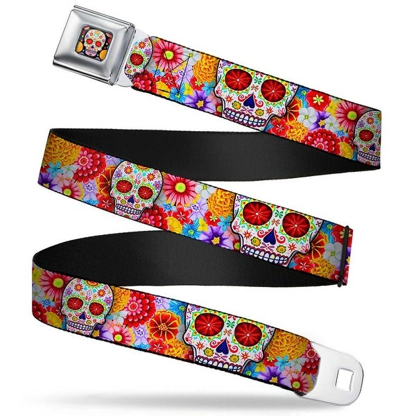Sugar Skull Starburst Full Color Black Multi Color Sugar Skull Starburst Seatbelt Belt