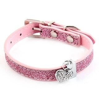 Pet Dog Love Shape Pendant Decor PU Leather Adjustable Belt Neck Collar Pink