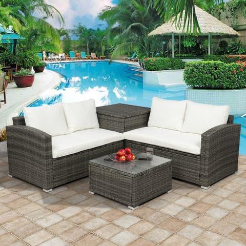 4 PCS Outdoor Cushioned PE Rattan Wicker Sectional Sofa