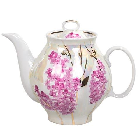 Pink Lilac Gold Rim 30-Oz Porcelain Teapot