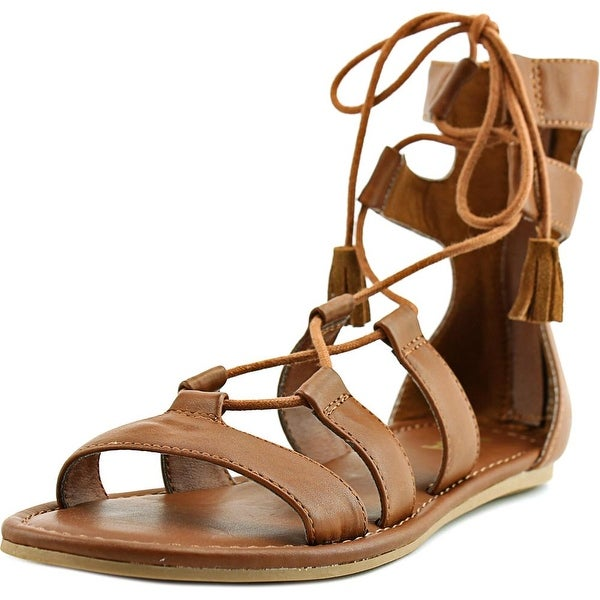 Mia Ozie Women Open Toe Synthetic Tan Gladiator Sandal