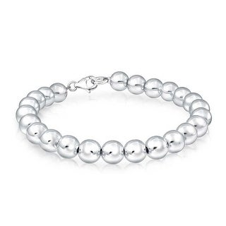 Bling Jewelry 925 Silver Beaded Ball Wedding Bridal Bracelet 8mm