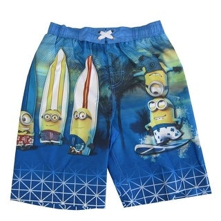 Minions Little Boys Sky Blue Surfin Cartoon Character Swimwear Shorts 4-7