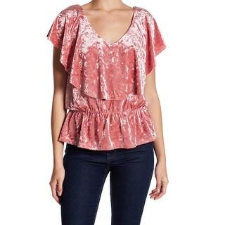 Free Press NEW Pink Women's Size XL Velvet Ruffled Peplum V-Neck Blouse