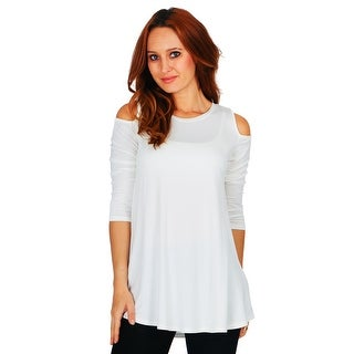 Simply Ravishing Women's Open Shoulder Flare 3/4 Sleeve Blouse Top Tunic Shirt (Size: S-5X)