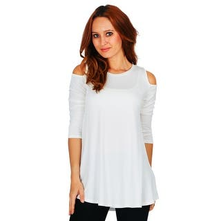 Simply Ravishing Women S Cold Shoulder Flare 3 4 Sleeve Blouse Top Tunic Shirt Size