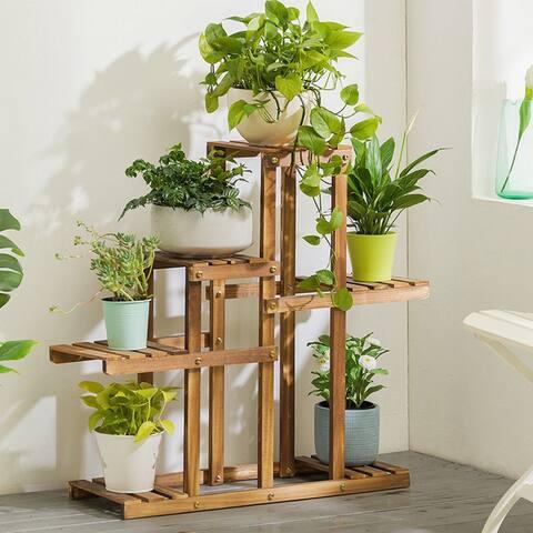Multi-Tier Wood Plant Stand Planter Rack Flower Pots Holder - 8' x 10'