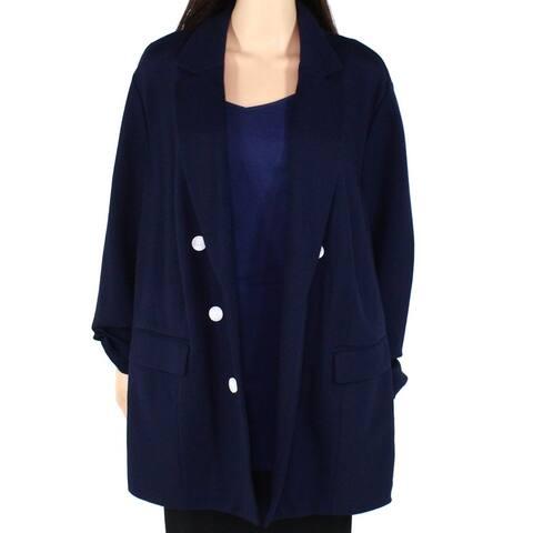 Charter Club Womens Jacket Blue Size 22W Plus Faux Button Notched Lapel