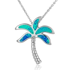"Palm Tree Necklace Opal Sterling Silver Pendant 18"" Chain"
