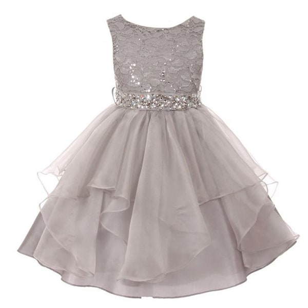 Shop girls silver lace crystal tulle ruffle flower girl dress free girls silver lace crystal tulle ruffle flower girl dress mightylinksfo