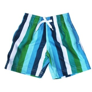 Azul Little Boys Green Blue Line Up Stripe Pattern Swimwear Trunks