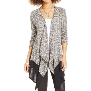 BCX Womens Juniors Cardigan Sweater Marled Open Front - M