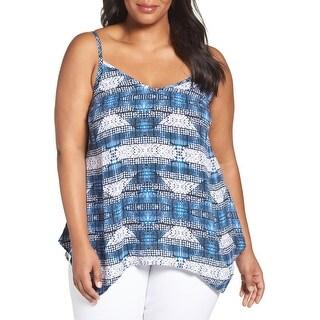 Sejour Blue Womens Size 18W Plus Handkerchief Hem Camisole Blouse