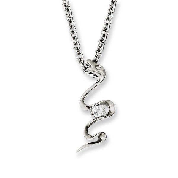 Chisel Stainless Steel Polished Snake Swirl with CZ 18in Necklace (2.3 mm) - 18 in
