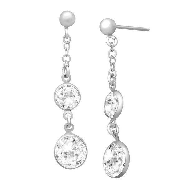Drop Earrings with Swarovski Crystals in Sterling Silver - White