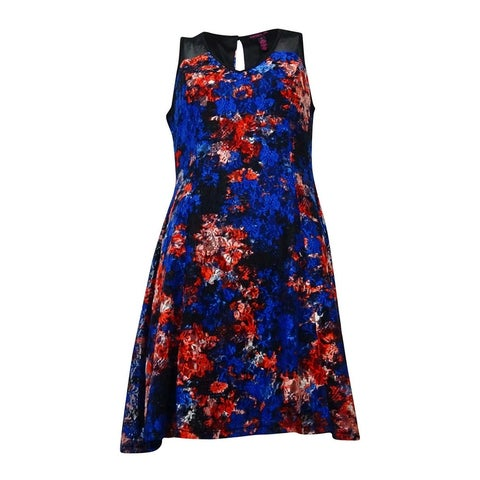 Material Girl Juniors Floral Lace Fit-and-Flare Dress (Mazarine Blue, M) - Mazarine Blue - M