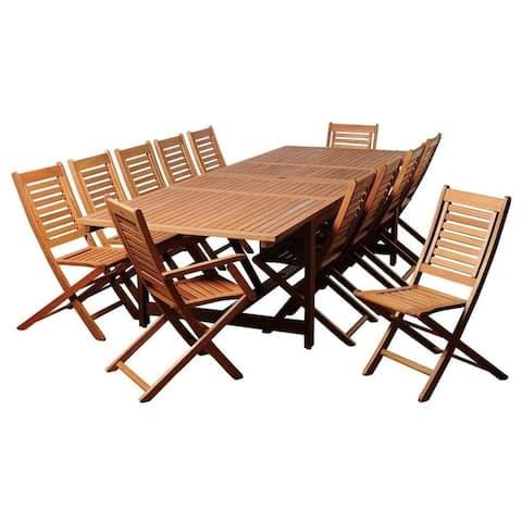 Brandon 13-Piece Outdoor Dining Set Eucalyptus Extendable Rectangular Patio Furniture