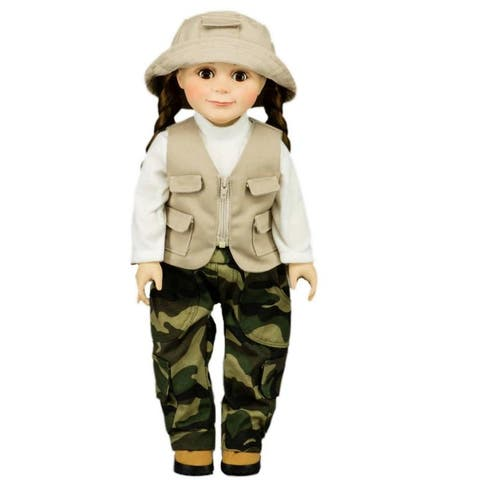 Fishing Outfit, Hat, Pants, Shirt, Vest, Fits 18 Inch American Girl Doll Clothes And Accessories,