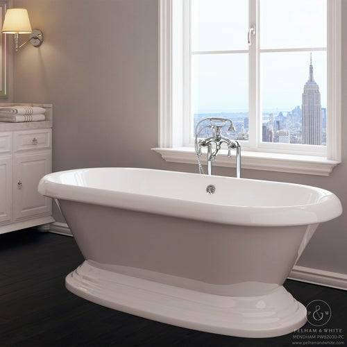 Pelham U0026 White Luxury 60 Inch Vintage Pedestal Tub With Chrome Drain   Free  Shipping Today   Overstock.com   24171943