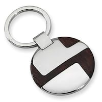 Chisel Polished Stainless Steel and Wood Key Ring