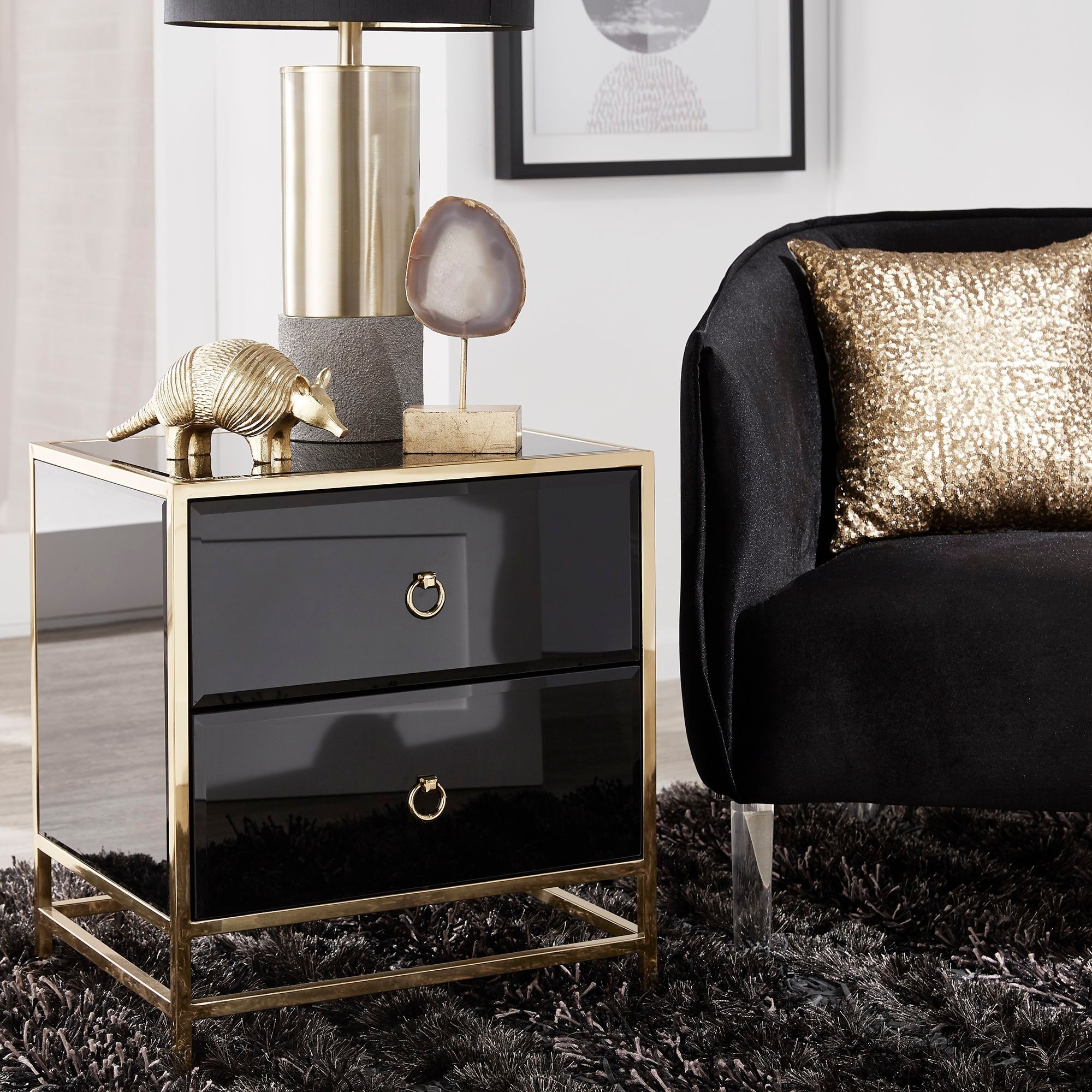 kinmore gold finish 2 drawer black glass side table by inspire q bold