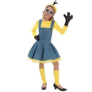 Little Girls Blue Yellow Chambray Minion 6 Pc Dress Up Halloween Costume