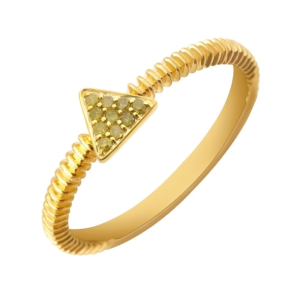 Prism Jewel 0.07Ct Round Yellow Diamond Triangle Shaped Fancy Ring