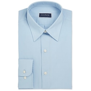 """Link to Club Room Mens Solid Slim Fit Button Up Dress Shirt, Blue, 16.5"""" Neck 34""""-35"""" Sleeve Similar Items in Shirts"""