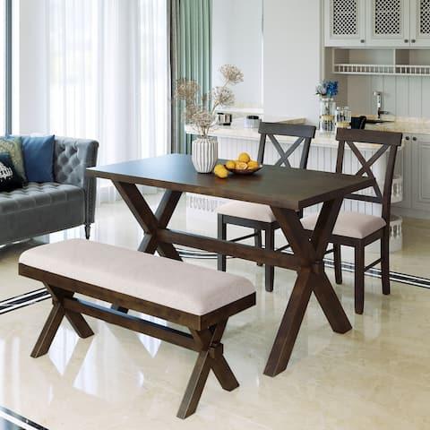 TiramisuBest 4 Pieces Farmhouse Rustic Wood Kitchen Dining Table Set